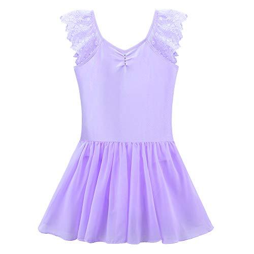 ZNYUNE Mädchen Kinder Ballettanzug Turnanzug Chiffonrock Ballett Trikot Turnanzug Tanz-Body Leotard in Farben Lila 3 4 ()
