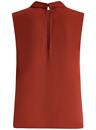oodji Ultra Femme Blouse Basique à Col sans Manches Rouge (4900O)