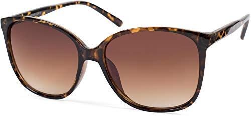 styleBREAKER Damen Sonnenbrille Oversize mit ovalen Polycarbonat Gläsern und Kunststoff Gestell, Retro Style 09020092, Farbe:Gestell Braun Demi/Glas Braun Verlauf