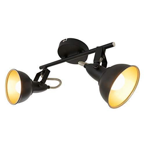 Briloner Leuchten 2049-025 Lámpara de techo E14, Negro/Dorado 30.4 x 10 x...