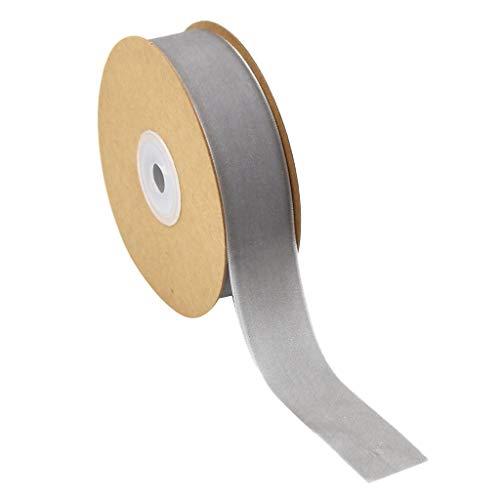 Wide 25mm Samtband, Samt 12 Farben Sortiert Viel Bulk - Grau, 25 mm ()
