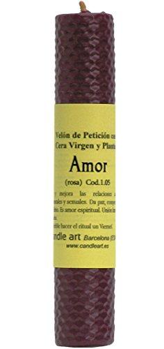 Candle Art Vela Amor - Vela ESOTÉRICA. Encontrar el Amor Verdadero. Color Rosa, Cera de Abeja con Plantas, ritualizada. Medidas. Alto: 10 cm x Diám.: 5 cm. Peso: 0.140 Kg