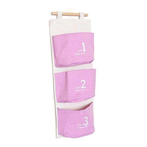 sourcingmap Ménage Mur Numéro imprime 3 poches toile accroché sac stockage cosmétiques