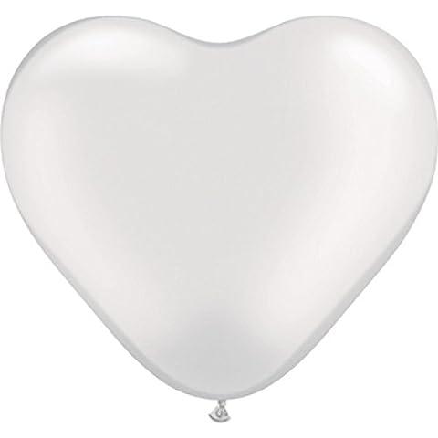 Lot de 10 Ballons COEUR BLANC 26cm - Mariage Anniversaire - 100% Latex