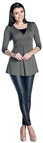 Zeta Ville - Damen Zweilagiges Still Top Schwangerschaft Kontrastdetails - 950c Khaki & Schwarz