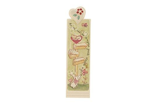 WALD - Segnalibro con Cuore in Ceramica Decorato a Mano - AFF/31/RE
