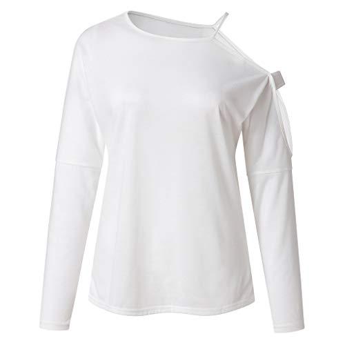 Oasics Damen Bluse Frauen Strappy kalte Schulter T-Shirt lose Rundhalsausschnitt Langarm Top S-2XL