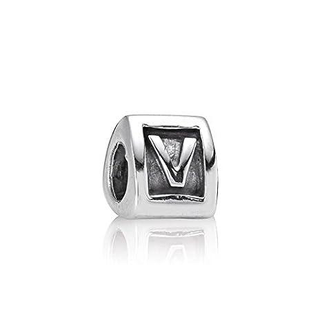 Pandora - 79323-V - Bracelet - Perles - Femme - Lettre - Initiale - Argent 925/1000-rhodié