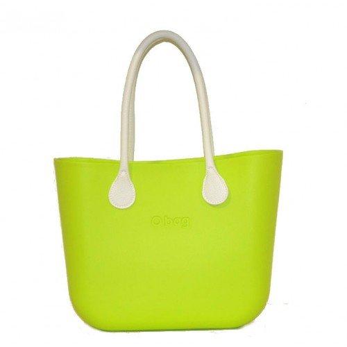 Ou Bag Grand Vert pomme avec anses longues en cuir synthétique et poche