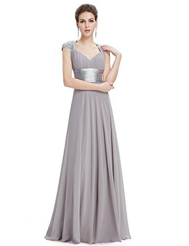 Ever Pretty Damen V-Ausschnitt Lange Chiffon Abendkleider Festkleider 36 Grau EP09672GY04