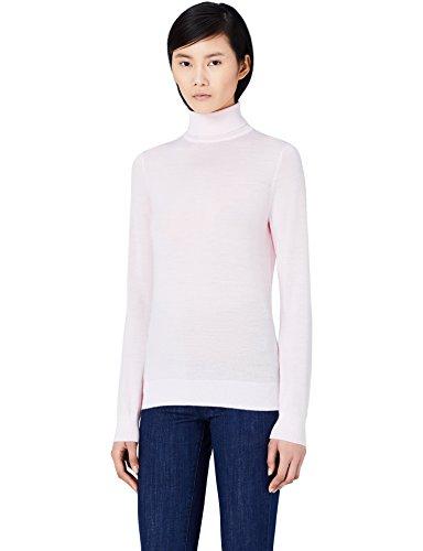 MERAKI Merino Rollkragenpullover Damen, Rosa (Pale Pink), 38 (Herstellergröße: Medium)