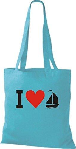 JUTA Borsa di stoffa I LOVE barca a vela, CAPITANO Sky