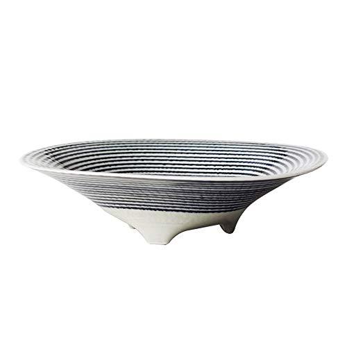 RKY Bol- Bol à trois pattes à rayures bleues bol à soupe table en céramique bol à ramen japonais en céramique bol - 2 tailles /-/ (taille : 13 * 6.5cm)