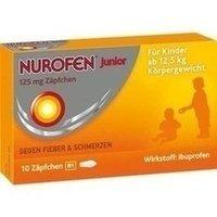 Nurofen Junior 125mg Zäpfchen - Mit Ibuprofen zur Linderung von Fieber und Schmerzen - Für Kinder ab 2 Jahren - 1 x Blisterpackung mit 10 Stück
