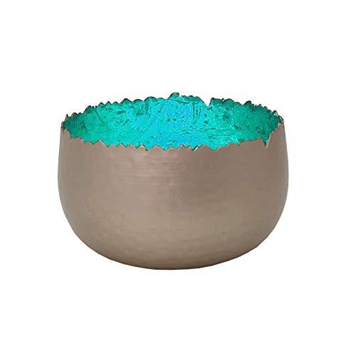 netproshop Strahlender Teelichthalter Windlicht Dekoschale Metall Silber 8x6 cm div. Farben, Auswahl:Türkis