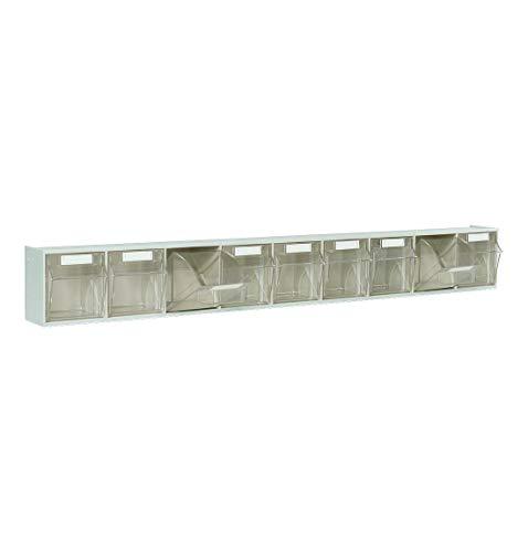 Lagersystem Klarsicht-Magazin, Aufbewahrungsboxen, 9 Behälter, lichtgrau