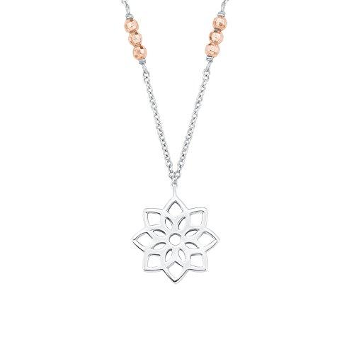 s.Oliver Damen-Kette 45 cm So Pure mit Anhänger Blume Bicolor 925 Silber teil-rosévergoldet