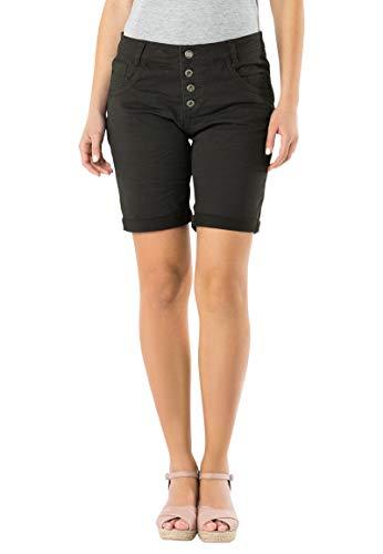Urban Surface Damen Bermuda Shorts | Bequeme Kurze Stoffhose aus Stretch-Twill - Loose Fit Dark-Grey M