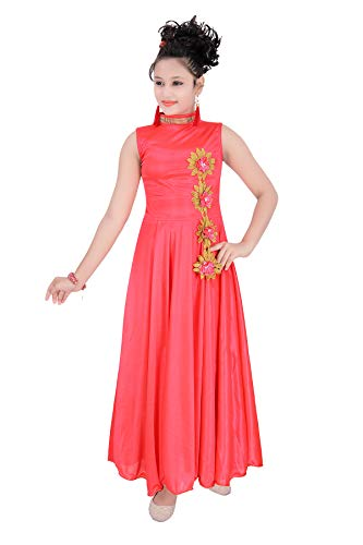 Indian Evergreen Long Evening Gown High Neck Bright Satin Lycra Party Wear Western Frock for Girls (Carrot, 12-15 Years)