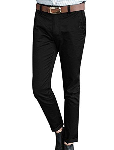 Hommes Taille Moyenne Deux Biais Poches Front Fin Pantalon Décontracté Noir