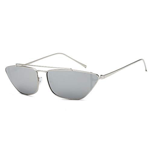 Easy Go Shopping Frauen-Sonnenbrille-Metallrahmen-kleine Katzenaugen-Sonnenbrille UVschutz für die Sonnenbrille der Männer Sonnenbrillen und Flacher Spiegel (Farbe : Silver Frame Mercury Film)