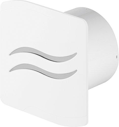 Design Badventilator Ø 100 mm Hochglanz weiß mit Timer / Nachlauf und Rückstauklappe WSB100T Lüfter Ventilator Front Wandlüfter Badlüfter Ventilator Einbaulüfter Bad Küche leise 10 cm