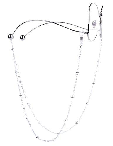 Mini Tree Brillenketten für Lesebrillen Silber Perlen Brillenband Brillen Cord Damen Lesebrille Brille Kette Sonnebrillen Band Lesebrillen Kette Lesebrillen Band Brille Cords Hals Cord