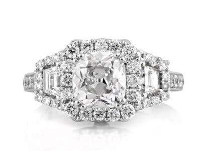 18 Karat Solid White Real Gold Trauringe 3,60 Karat Solitaire Diamant-Verlobungsring Größe 49 (15,6)