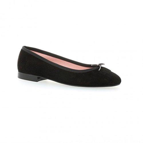 Pao Ballerines cuir velours noir Noir