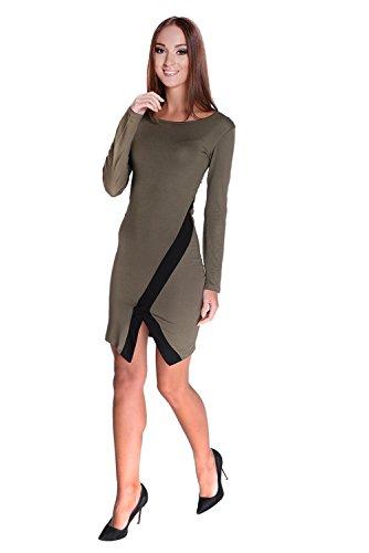 Minikleid Top Mini-Kleid Kleid Top zweifarbig Gr. 36 38 S M, 8134 Khaki