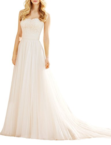 Bridal_Mall Damen Romantische A Line Liebsten Spitze Brautkleider Weiß