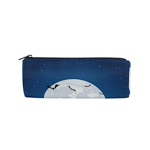 Federmäppchen Zylinderform Halter Full Moon Night Wolf Fledermaus Stiftebeutel mit Reißverschluss