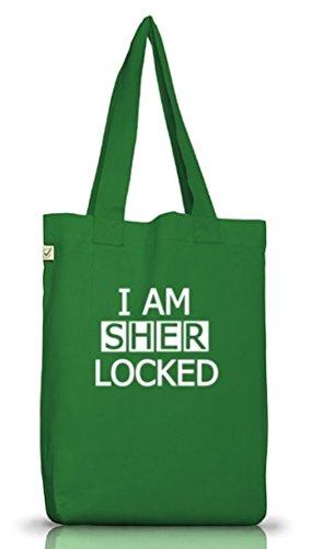 Shirtstreet24, I AM SHER LOCKED, Jutebeutel Stoff Tasche Earth Positive (ONE SIZE) Moss Green