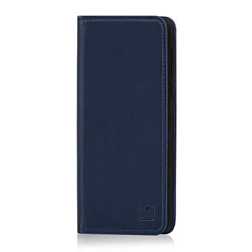 32nd Klassische Series - Lederhülle Case Cover für Motorola Moto G7 und Moto G7 Plus, Echtleder Hülle Entwurf gemacht Mit Kartensteckplatz, Magnetisch & Standfuß - Marineblau