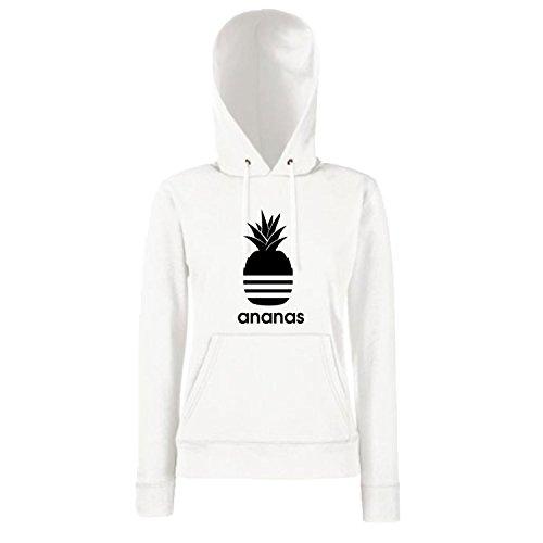 Shirt-Panda Damen Mädchen Hoodie Ananas Motiv Spruch Fun Cool Ladyfit White 140 (Kindergöße)