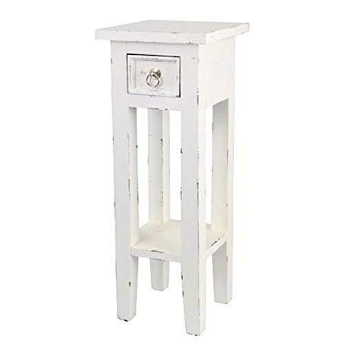 Buri Mahagoni Beistelltisch mit Schublade weiß mit antikem Design -