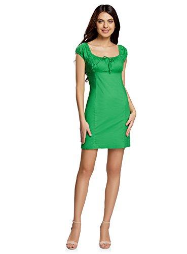 oodji Ultra Damen Baumwoll-Kleid mit Raffungen auf der Brust, Grün, DE 34 / EU 36 / XS