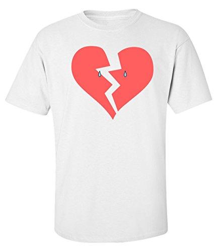 Crying broken heart tears logo Herren baumwolle t-shirt Weiß