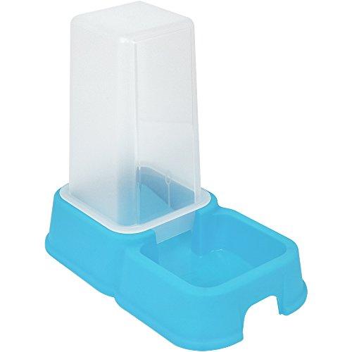 COM-FOUR® Dispensador de agua y alimentación para mascotas de 1,5 litros, recipiente de comida automático en azul para perros y gatos, 26,2 x 24 x 15,4 cm (01 pieza - azul)