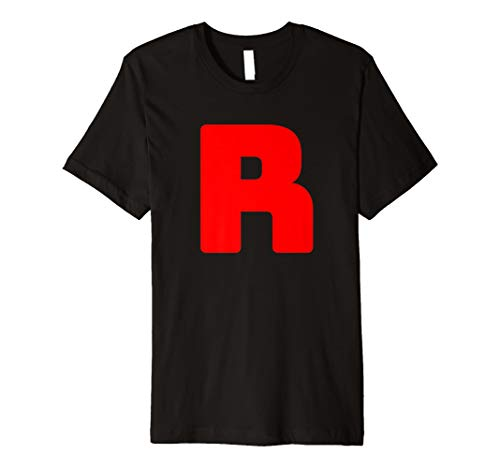 R T-Shirt Team Rocket Gruppen-Kostüm Karneval Partner-Outfit (Team Rocket Kostüm Schwarz)