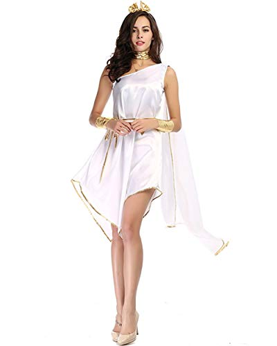 82e3adb93e BESTHOO Vestito di Halloween Halloween Party Dea Greca Halloween White  Goddess Che scorre Irregolare Gonna Lunga