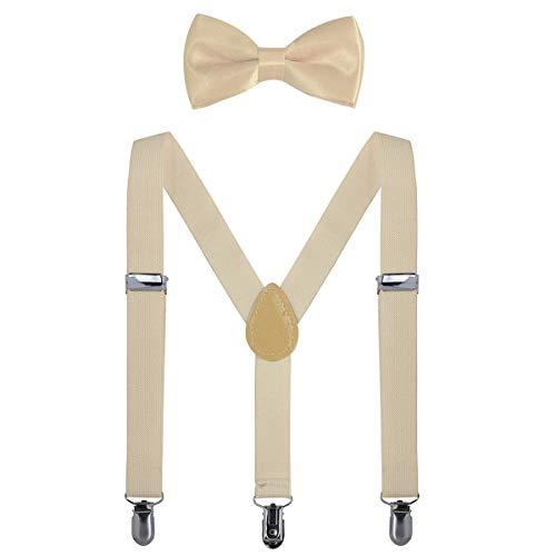 AWAYTR Kinder Hosenträger Krawatte Set -Einstellbar Länge 2.54cm Straps Mit Bogen Krawatte Set Für Jungen und Mädchen (Beige)