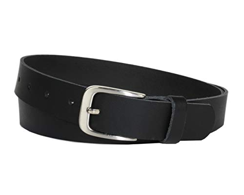 Ledergürtel 100 % echt Leder, Jeansgürtel, 3 cm breit und ca. 0.25 cm stark, Gürtel, Made in Germany, Anzugsgürtel, Hüftgürtel, Vascavi (85 cm Gesamtlänge 95 cm, Schwarz) -