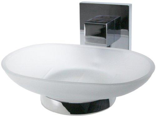 Fackelmann Ablageschale MARE, Seifenschale mit verchromtem Halter, Seifenhalter aus Glas (Farbe: Silber/Milchig), Menge: 1 Stück -