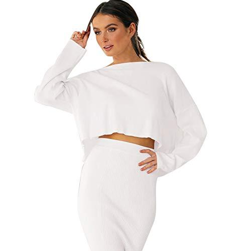 MRULIC Frauen Stricken Pullover Kurz Sweater Elegant Blusen Tops T-Shirt Passe den Rock an ()