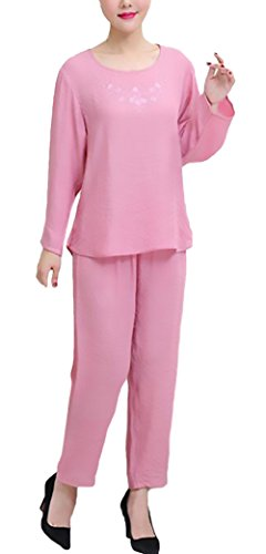 Pigiama donna taglie forti elegante manica lunga girocollo solido tops+ lungo pantaloni due pezzi larghi chic unique traspirante comfort homewear pigiami