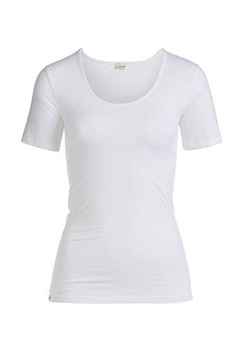 hessnatur Damen Unterhemd Basic Shirt Halbarm T-Shirt - Bio Baumwolle und Modal - Kurzarm Weiß