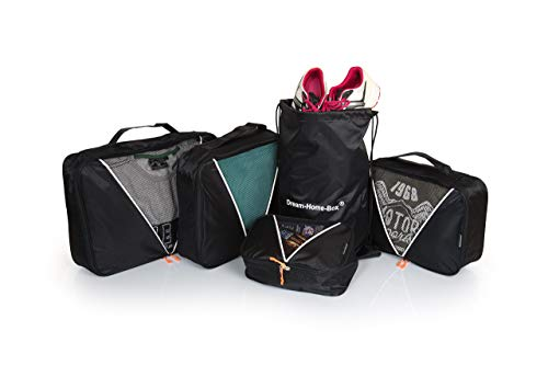 Dream-Home-Box   Kleidertaschen   Packing Cubes   Packtaschen   5-teiliges Koffertaschen Set   Premium Packwürfel   Ideal für Koffer,Seesäcke, Handgepäck und Reisetaschen (Plus Größe Kreuzfahrt Kleider)