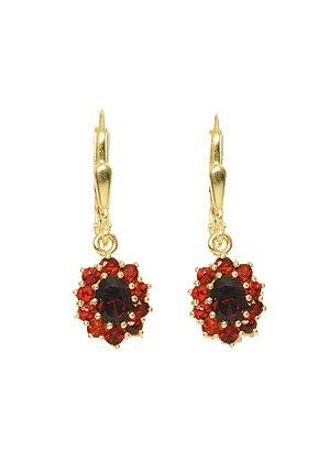 1 Paar Gold Ohrringe Ohrhänger 8 k 333 Gelbgold mit Granat