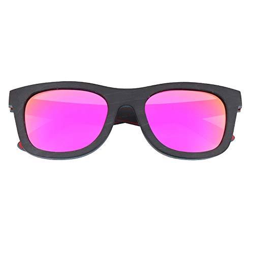 LKVNHP Holz Sonnenbrillen für Männer und Frauen Polarisierte Gläser Skateboard Farbe Holz Sonnenbrillen Hochwertige Nur Sonnenbrille Rosa Linse
